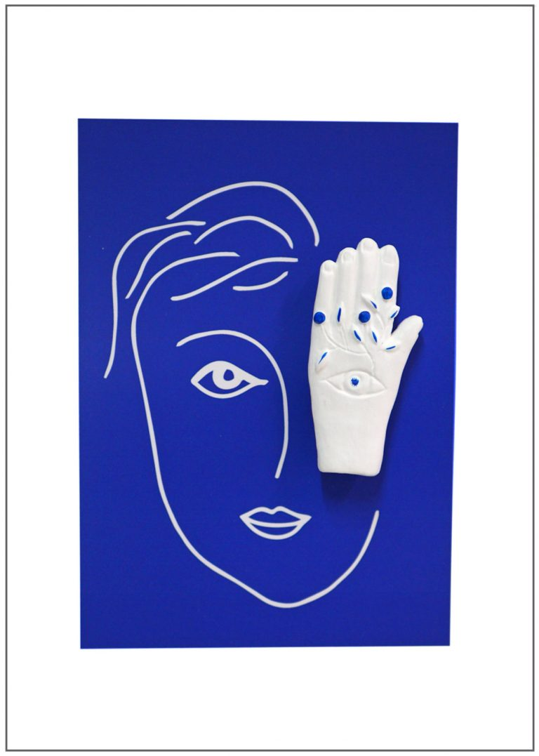 broche bijoux fait main collection Mon oeil bleu main