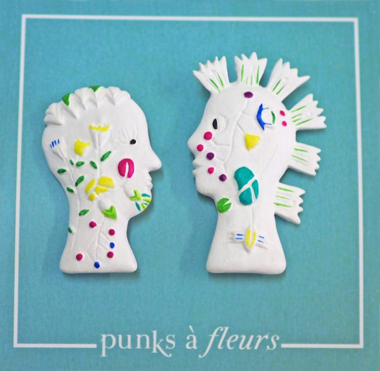 broche bijoux fait main collection Punks à fleurs couple