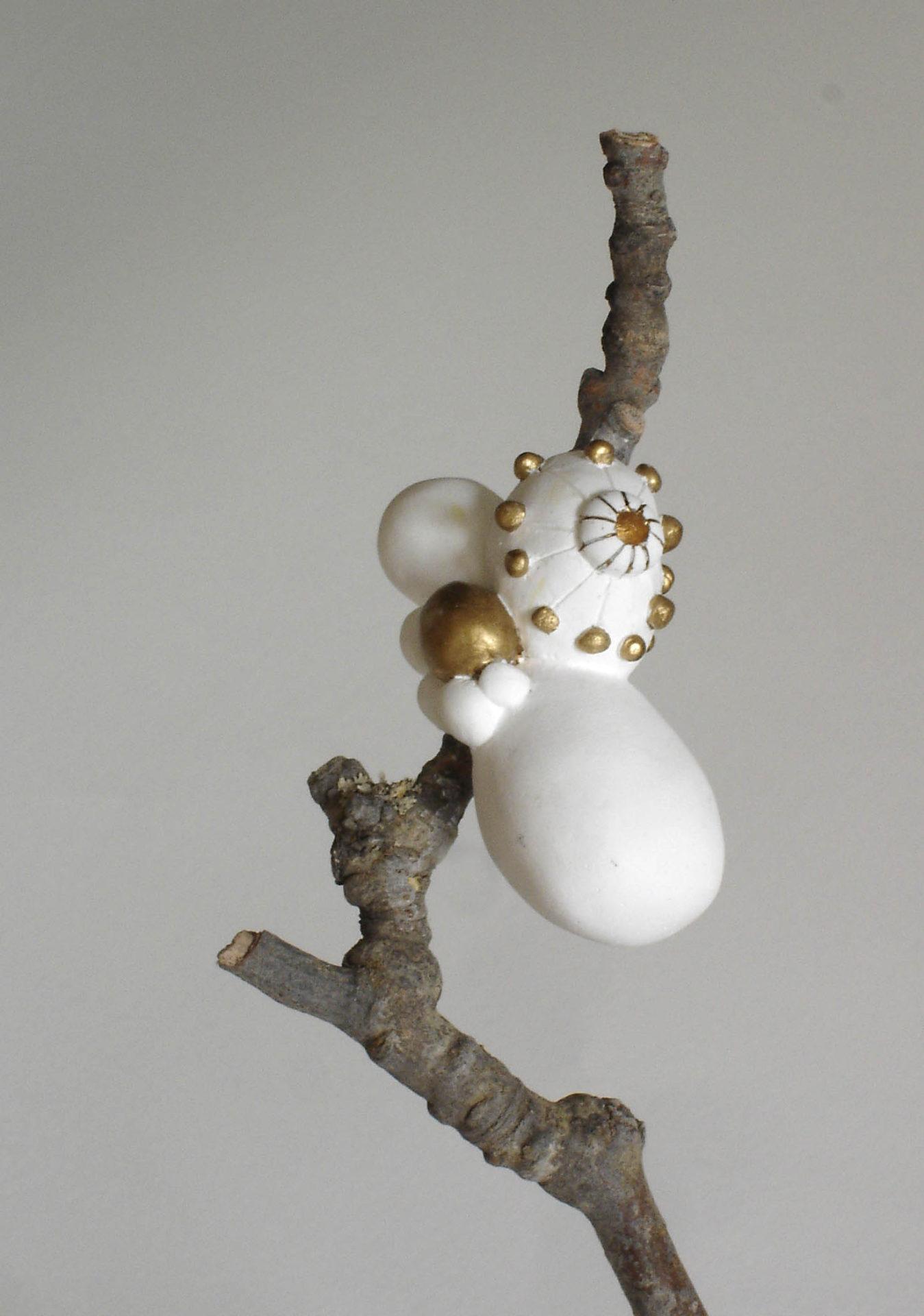 sculpture branche arbre blanc doré plâtre