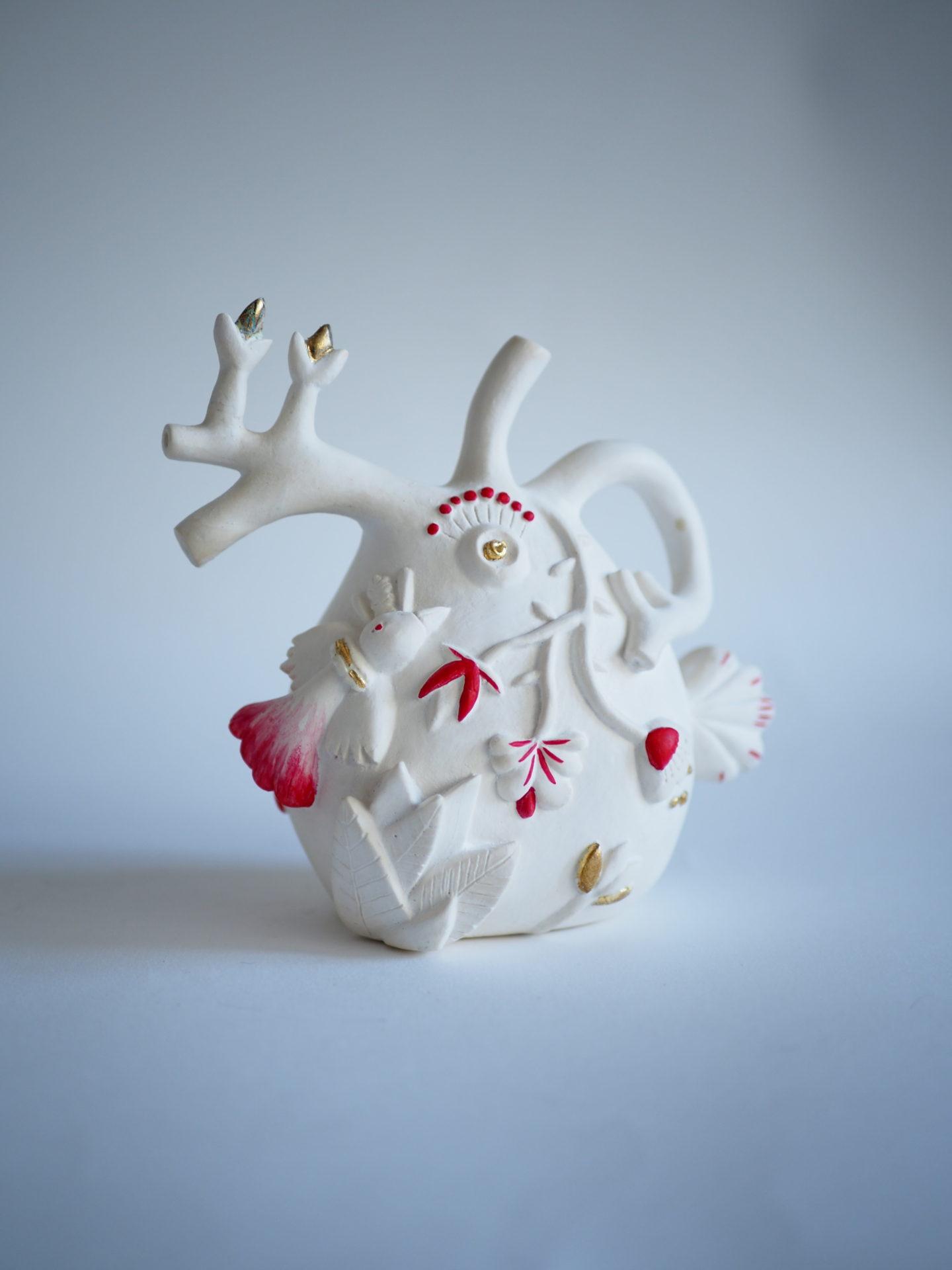 sculpture coeur anatomie plâtre rouge doré