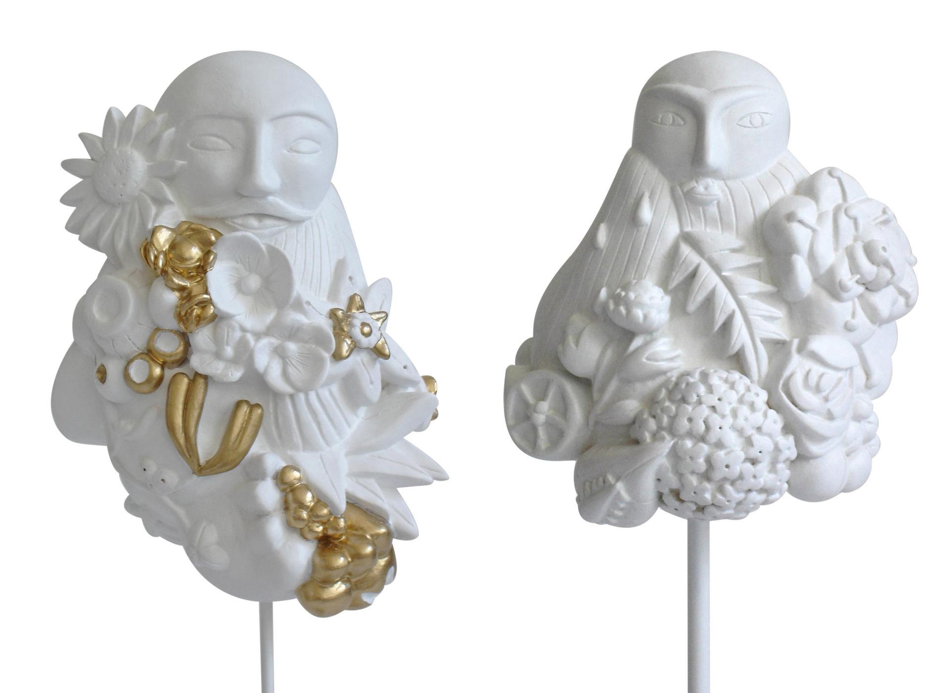 sculptures contemporaines personnages buste homme plâtre